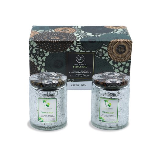 3d flower patent luxury electroplated jar 12 oz - silver - fresh linen & apple blossom - 2 pack